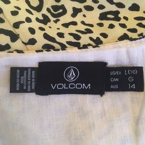 Volcom light yellow and black cheetah print dress